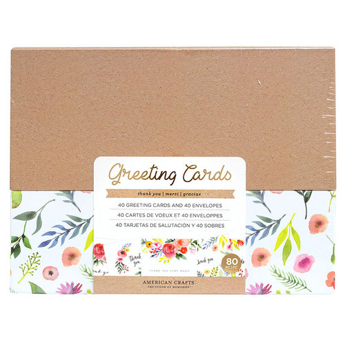 American Crafts - Boxed Cards Set - Thank You - Watercolor