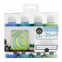 American Crafts - Color Pour Collection - Pre-Mixed Pouring Paint Kit - Sea Glass Pearlescent