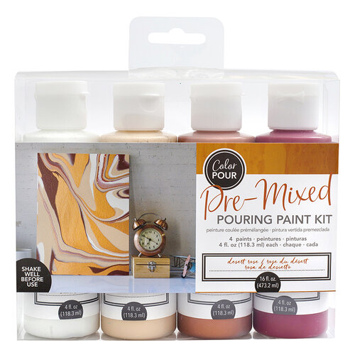 American Crafts - Color Pour Collection - Pre-Mixed Pouring Paint Kit - Desert Rose