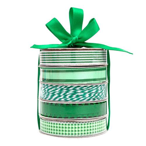 American Crafts - Premium Ribbon Spool - Green - 5 Piece
