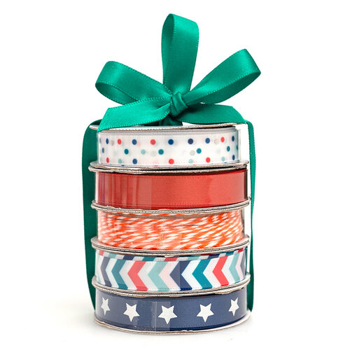 American Crafts - Premium Ribbon Spool - Patriotic - 5 Piece