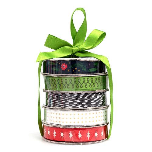 American Crafts - Premium Ribbon Spool - Green Vintage Christmas - 5 Piece