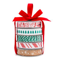 American Crafts - Premium Ribbon Spool - Traditional Christmas - 5 Piece