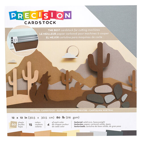 American Crafts - 12 x 12 Precision Cardstock Pack - 60 Sheets - Textured - Neutral