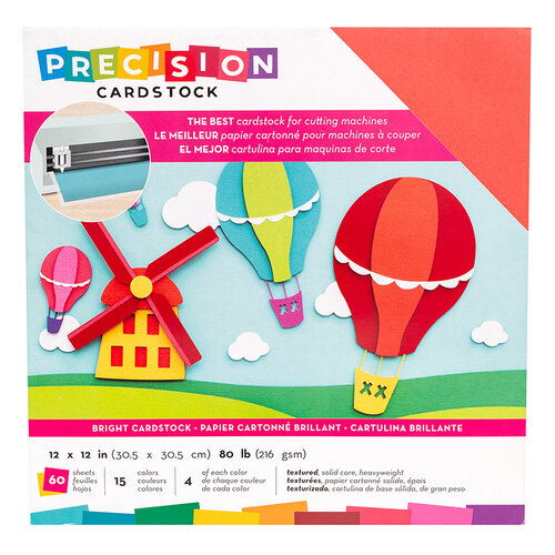 American Crafts - 12 x 12 Precision Cardstock Pack - 60 Sheets - Textured - Bright