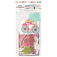 American Crafts - Slice Of Life Collection - Ephemera Pack With Glitter Accents