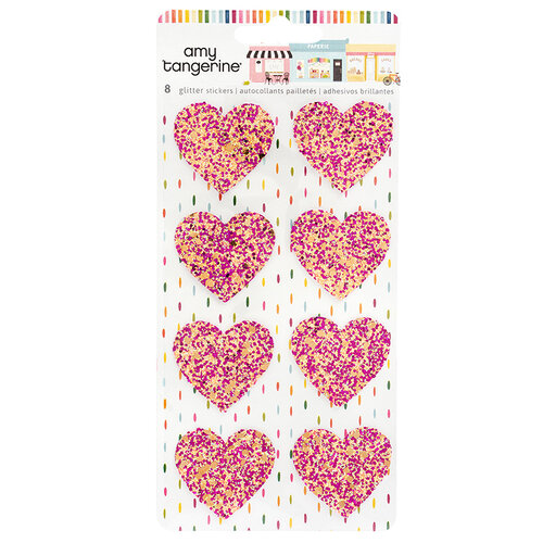 American Crafts - Slice Of Life Collection - Glitter Heart Stickers