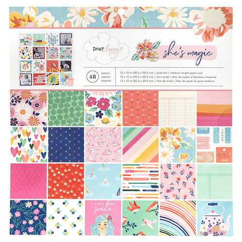 American Crafts - She's Magic Collection - 12 x 12 Paper Pad with Holographic Foil Accents