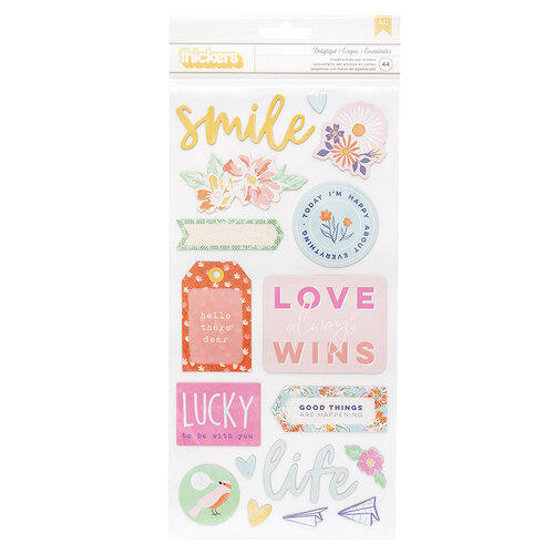 American Crafts - She's Magic Collection - Thickers - Phrase - Delightful - Chipboard with Iridescent Foil Accents