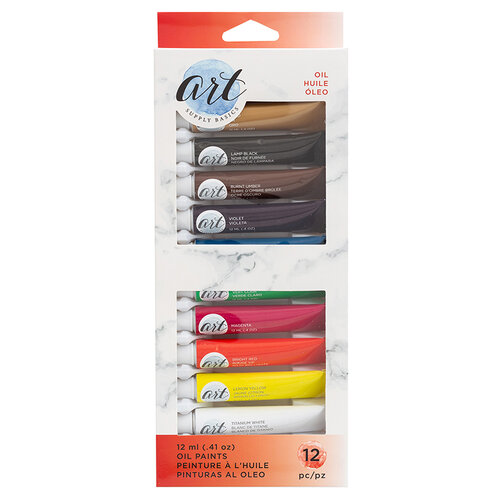 American Crafts - Art Supply Basics Collection - Oils Paint Set - 12 Pieces