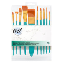 American Crafts - Art Supply Basics Collection - Paint Brushes - Acrylic Paint - Taklon Bristles 10 Pieces