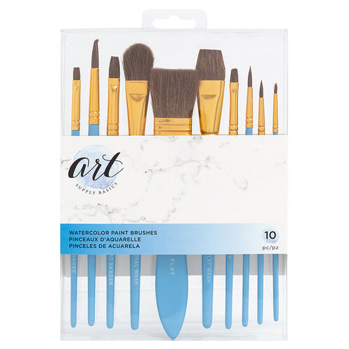 American Crafts - Art Supply Basics Collection - Paint Brushes - Watercolor Paint - Natural Bristles - 11 Pieces