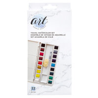 American Crafts - Art Supply Basics Collection - Solid Watercolor Travel Set - 22 Pieces