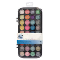 American Crafts - Art Supply Basics Collection - Pearlescent Watercolor Powder Tray Set - 37 Pieces