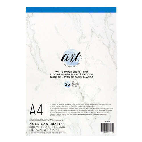 American Crafts - Art Supply Basics Collection - A4 - Sketch Pad - White - 25 Sheets