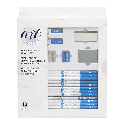 American Crafts - Art Supply Basics Collection - Pencils - Sketch and Draw Pencil Set - 18 Pieces