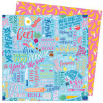 American Crafts - Write At Home Collection - 12 x 12 Double Sided Paper - Go Bananas