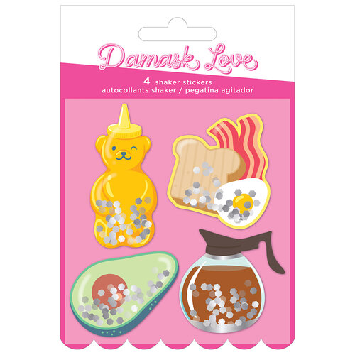 American Crafts - Write At Home Collection - Shaker Stickers with Foil and Glitter Accents