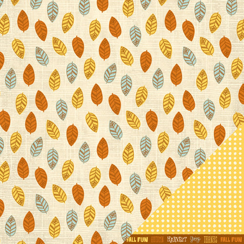 American Crafts - Nightfall Collection - Halloween - 12 x 12 Double Sided Paper - Fall Leaves