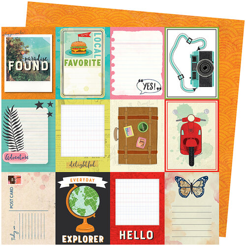 American Crafts - Let's Wander Collection - 12 x 12 Double Sided Paper - Wish You Were Here