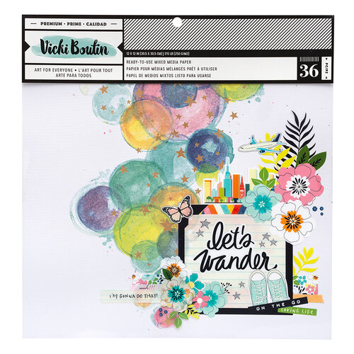 American Crafts - Let's Wander Collection - 12 x 12 Paper Pad - Mixed Media with Foil Accents