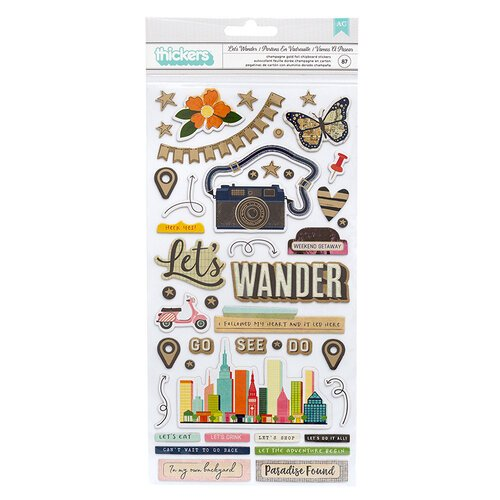 American Crafts - Let's Wander Collection - Thickers - Phrase - Let's Wander - Champagne Gold Foil Accents