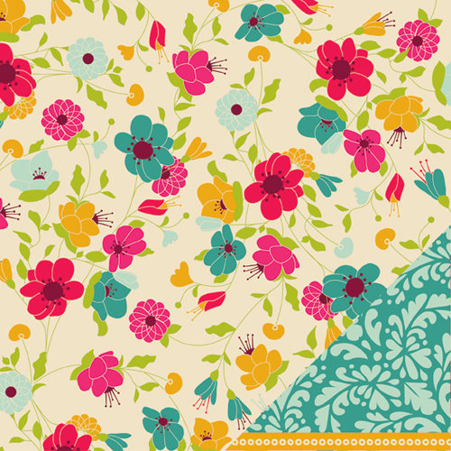 American Crafts - Garden Cafe Collection - 12 x 12 Double Sided Paper with Varnish Accents - Orchid Bistro