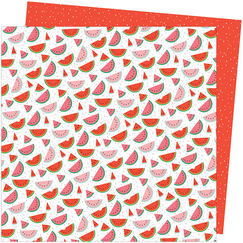 American Crafts - Picnic in the Park Collection - 12 x 12 Double Sided Paper- One in a Melon