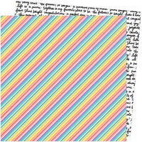 Amy Tangerine - Picnic in the Park Collection - 12 x 12 Double Sided Paper- Bright Lines