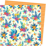 American Crafts - Picnic in the Park Collection - 12 x 12 Double Sided Paper- Blossom Bouquet