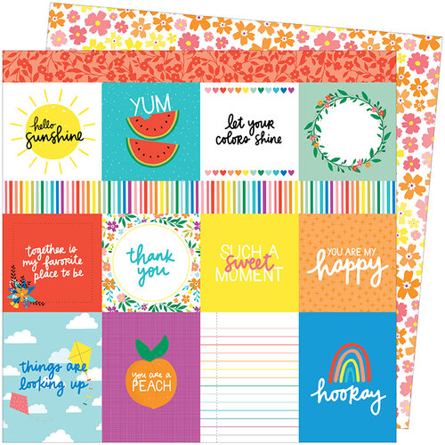 American Crafts - Picnic in the Park Collection - 12 x 12 Double Sided Paper- You Are My Happy