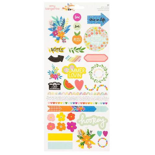 American Crafts - Picnic in the Park Collection - 6 x 12 Sticker Sheet - Glitter Accents
