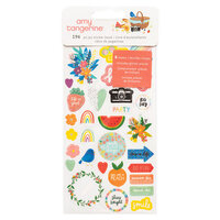 American Crafts - Picnic in the Park Collection - Sticker Book - Icon and Phrase - Iridescent Glitter
