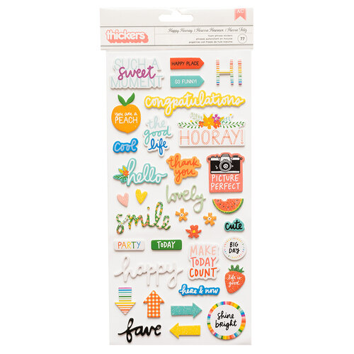 American Crafts - Picnic in the Park Collection - Thickers - Phrase - Iridescent Glitter - Happy Hooray