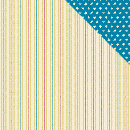 American Crafts - Amy Tangerine Collection - 12 x 12 Double Sided Paper - Stars, Stripes and Stitches