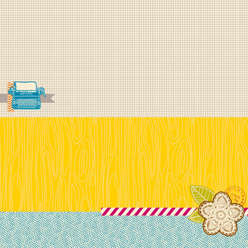 American Crafts - Amy Tangerine Collection - 12 x 12 Fabric Paper - You're Golden