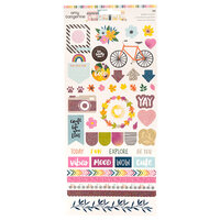 American Crafts - Slice Of Life Collection - Cardstock Stickers With Glitter Accents