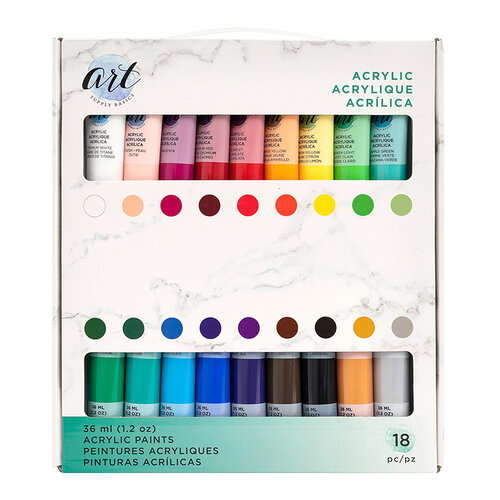 American Crafts - Art Supply Basics Collection - Professional Acrylic Paint Set - 18 Pieces