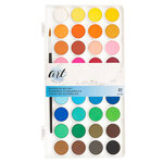 American Crafts - Art Supply Basics Collection - Professional Watercolor Cake Tray Set - 37 Pieces