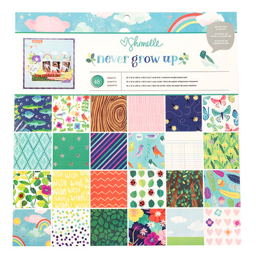 American Crafts - Never Grow Up Collection - 12 x 12 Paper Pad with Foil Accents