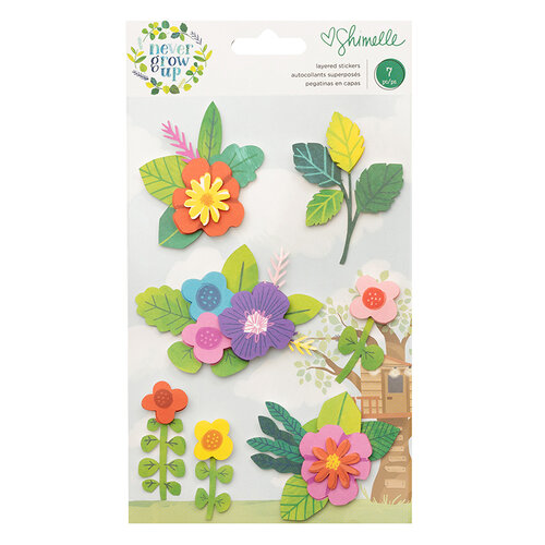 American Crafts - Never Grow Up Collection - Stickers - Layered - Floral