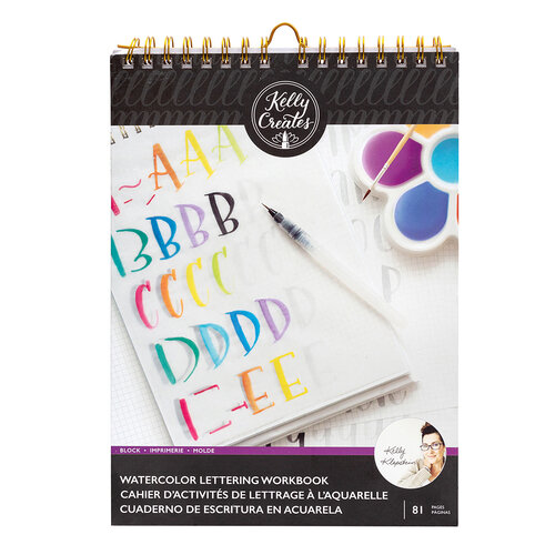 Kelly Creates - Watercolor Brush Lettering Collection - Block Letters Workbook