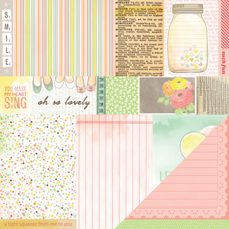 American Crafts - Dear Lizzy Neapolitan Collection - 12 x 12 Double Sided Paper - Cheerful Notes