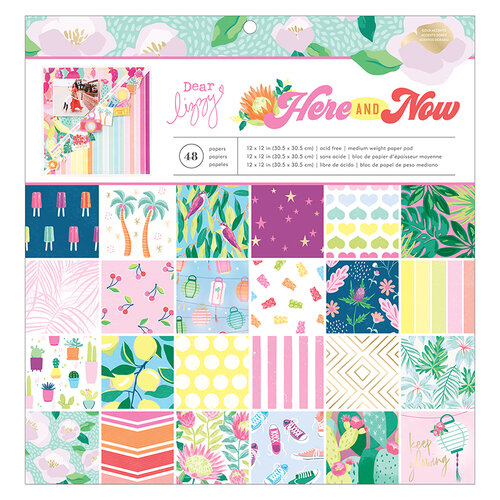 American Crafts - Here and Now Collection - 12 x 12 Paper Pad with Gold Foil Accents