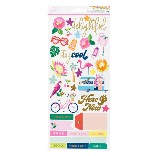 Dear Lizzy - Here and Now Collection - 6 x 12 Cardstock Stickers - Accent and Phrase with Foil Accents