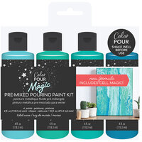 American Crafts - Color Pour Magic Collection - Pre-Mixed Pouring Paint Kit - Tidal Wave