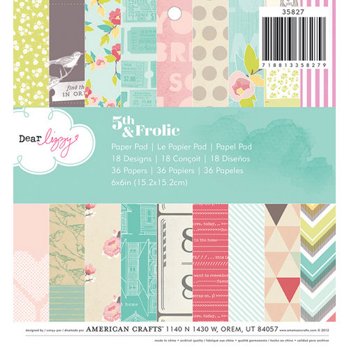 American Crafts - Dear Lizzy 5th and Frolic Collection - 6 x 6 Paper Pad
