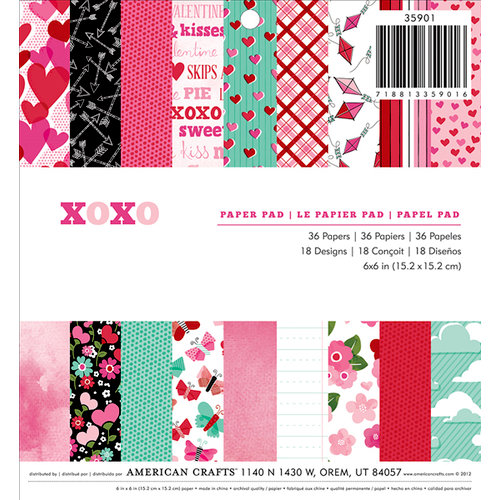 American Crafts Paper - XOXO Collection - 6 x 6 Paper Pad