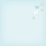 American Crafts - My Girl Collection - 12 x 12 Stitched Butterfly Paper - Lovely Lucy
