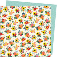 American Crafts - Late Afternoon Collection - 12 x 12 Double Sided Paper - Bright Bouquets